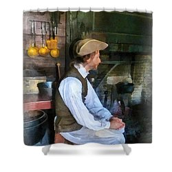 Colonial Man In Kitchen Shower Curtain by Susan Savad