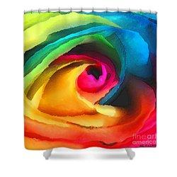 Color Launch Shower Curtain by ME Kozdron