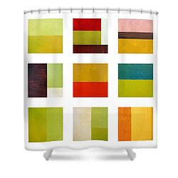 Color Study Abstract Collage Shower Curtain by Michelle Calkins