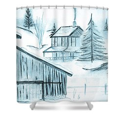 Shower Curtain featuring the drawing Colorado Farm by Shannon Harrington