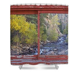 Colorado St Vrain Canyon Red Rustic Picture Window Frame Photos  Shower Curtain by James BO  Insogna