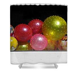 Colorful Balls In The Shop Window Shower Curtain by Ausra Huntington nee Paulauskaite