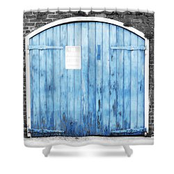 Colorful Blue Garage Door French Quarter New Orleans Color Splash Black And White And Diffuse Glow Shower Curtain