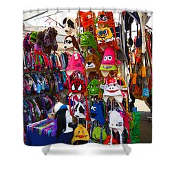 Shower Curtain featuring the photograph Colorful Character Hats by Kym Backland