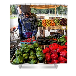 Shower Curtain featuring the photograph Colorful Fruit And Veggie Stand by Kym Backland