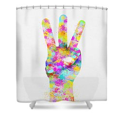 Colorful Painting Of Hand Point Three Finger Shower Curtain by Setsiri Silapasuwanchai