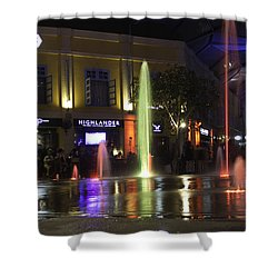 Colorful Water Jets At Clarke Quay In Singapore Shower Curtain by Ashish Agarwal