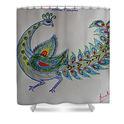 Colourful Bird Shower Curtain by Sonali Gangane