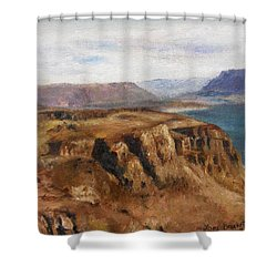 Shower Curtain featuring the painting Columbia River Gorge I by Lori Brackett