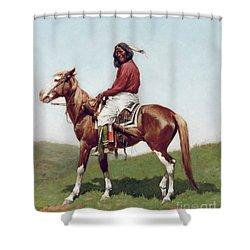 Comanche Brave Shower Curtain by Frederic Remington