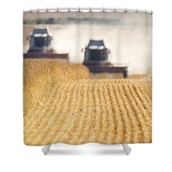 Combines Harvesting Field, North Shower Curtain by John Short
