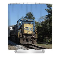 Shower Curtain featuring the photograph Coming Down The Track by Donna Brown