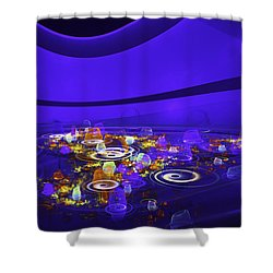 Computer Generated Blue Abstract Fractal Flame Modern Art Shower Curtain by Keith Webber Jr