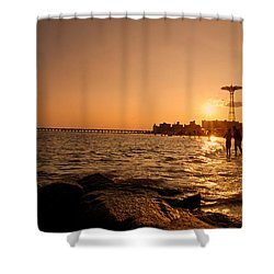 Coney Island Beach Sunset - New York City Shower Curtain by Vivienne Gucwa