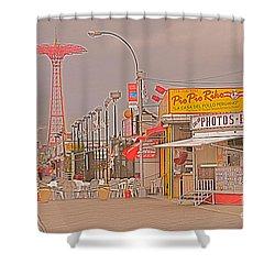 Coney Island Boardwalk Shower Curtain by Mark Gilman