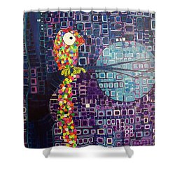 Shower Curtain featuring the painting Confetti Bird by Donna Howard