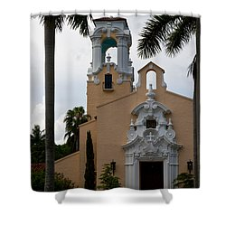 Shower Curtain featuring the photograph Congregational Church Front Door by Ed Gleichman