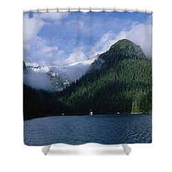 Conifer-covered Coastline Of Warm Shower Curtain by Konrad Wothe