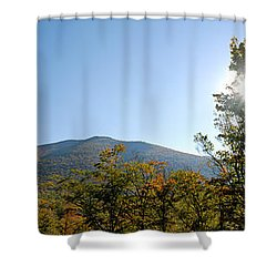 Conway Scenic Railroad  - Longtrack View Shower Curtain by Geoffrey Bolte