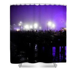 Shower Curtain featuring the photograph Cool Night At Santa Monica Pier by Clayton Bruster