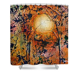 Shower Curtain featuring the painting Copper Moon by Dan Whittemore