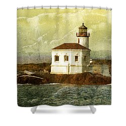 Coquille River Lighthouse Shower Curtain by Jill Battaglia