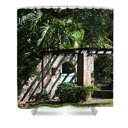 Shower Curtain featuring the photograph Coral Gables Gate by Ed Gleichman