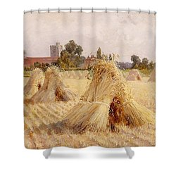 Corn Stooks By Bray Church Shower Curtain by Heywood Hardy