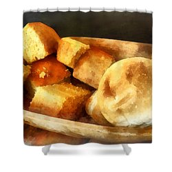 Cornbread And Rolls Shower Curtain by Susan Savad