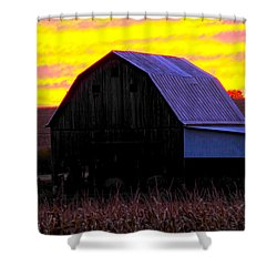 Shower Curtain featuring the photograph Cornfield Barn Sky by Randall Branham