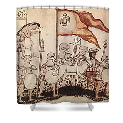 Cortez Entering Mexico 1519 Shower Curtain by Photo Researchers