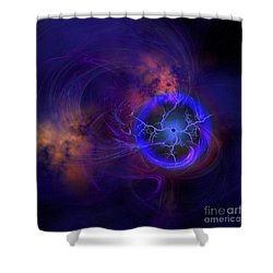 Cosmic Forces Out In Space Shower Curtain by Corey Ford