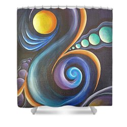Cosmic  Shower Curtain by Reina Cottier