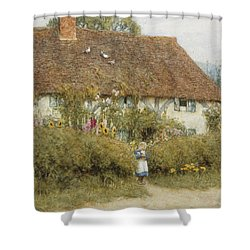 Cottage At West Horsley Surrey Shower Curtain by Helen Allingham