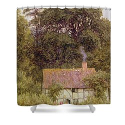 Cottage Near Brook  Shower Curtain by Helen Allingham