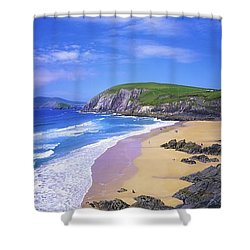 Coumeenoole Beach, Dingle Peninsula, Co Shower Curtain by The Irish Image Collection