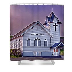 Country Church At Sunset Art Prints Shower Curtain by Valerie Garner