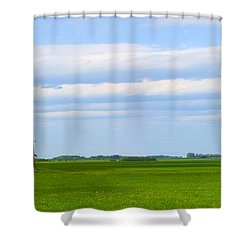 Country Grain Elevator Panoramic Shower Curtain by Corey Hochachka