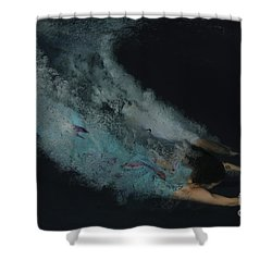 Couple Dive Together Into Water. Shower Curtain by Hagai Nativ