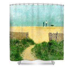 Couple Walking Dog On Beach Shower Curtain by Jill Battaglia