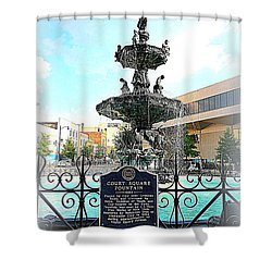 Court Square Fountain Shower Curtain by Carol Groenen