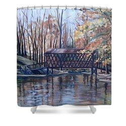 Covered Bridge At Lake Roaming Rock Shower Curtain by Donna Tuten