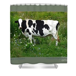 Cow In The Flowers Shower Curtain