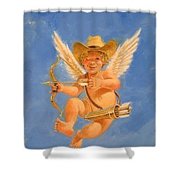 Shower Curtain featuring the painting Cow Kid Cupid by Cliff Spohn