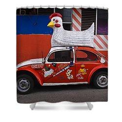Cowboy Chicken Shower Curtain by Skip Hunt