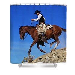 Cowboy Shower Curtain by George D Lepp and Photo Researchers