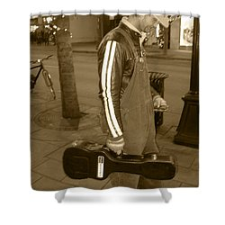 Shower Curtain featuring the photograph Cowboy Musician On Streets by Kym Backland