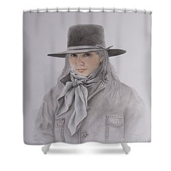Shower Curtain featuring the painting Cowgirl In Hat by Phyllis Howard