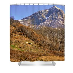 Cowhouse And Snow-capped Mountain Shower Curtain by Mats Silvan