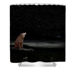 Shower Curtain featuring the photograph Coyote Howling At Moon by Dan Friend